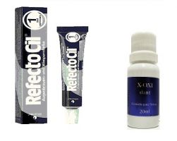 Refectocil 1.0 Preto 15ml + Oxidante Henafix 20ml Cílios Sobrancelhas Barba