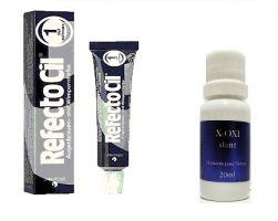 Refectocil 1.0 Preto 15ml + Oxidante Henafix 20ml Cílios Sobrancelhas Barba