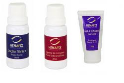 Loção Tônica + Agente de Limpeza + Gel fixador de cor Henafix Preparo da pele