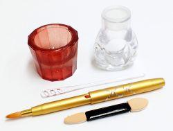 Dappen Copinho Vermelho + Pincel Aplicação + Anel Acrílico Para Tintura Henna ou Pó Unha