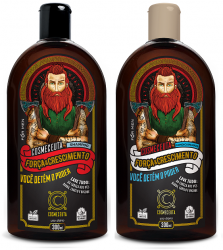 Kit Shampoo e Condicionador Masculino para Barba Cabelo Força & Crescimento 300ml Vegano Cosmeceuta
