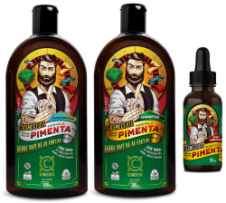 Kit Shampoo  Condicionador Óleo Masculino para Barba Cabelo Hortelã e Pimenta 300ml Vegano Cosmeceuta