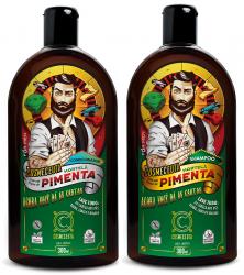 Kit Shampoo Condicionador Masculino para Barba Cabelo Hortelã e Pimenta 300ml Vegano Cosmeceuta