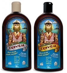 Kit Shampoo e Condicionador Masculino para Barba Cabelo Lúpulo e Cerveja 300ml Vegano Cosmeceuta